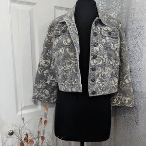 Floral Denim Gray cropped Jacket Sz XL